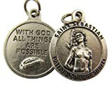 Silver Toned Base With God All Things Are Possible Saint Sebastian Sports Medal, 3/4 Inch