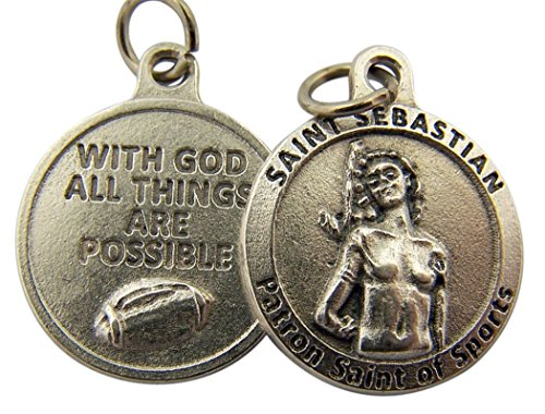 L&M Silver Toned Base with God All Things are Possible Saint Sebastian Sports Medal, 3/4 Inch (Football)