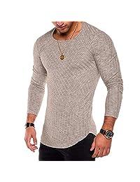 Karl Aiken Men's t-Shirts Striped Arc Hem Long Sleeve Hip hop Streetwear Slim fit