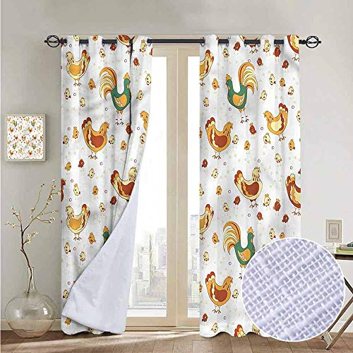 NUOMANAN Bedroom Curtains 2 Panel Sets Gallus,Rooster Hen Chicks Spring,Complete Darkness, Noise Reducing Curtain 120
