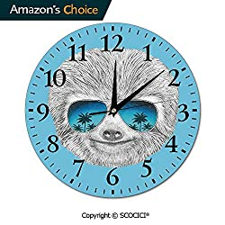 SCOCICI 10 Inch Wall Decorative Clock Portrait of Sloth with Mirror Sunglasses Exotic Palm Trees Hawaiian Be Living Room Modern Clock, Silent Non Ticking Round Digital Wall Clock