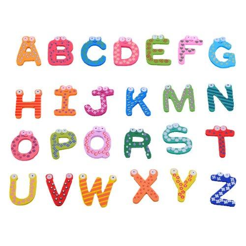 A-Z Letters Wooden Fridge Magnets Baby Educational Set // Letras az imanes de nevera de madera conjunto educativa - Mall Az