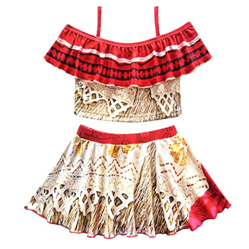 kaiCran Vintage Halloween Moana Costume Swimsuits for Girls Two Piece Off Shoulder Sling Bikini Set Age 1-7 Years (Yellow, 120(4-5 Years))