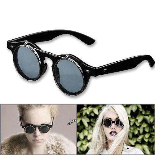 cdba848b65 1 Pair Retro Steampunk Style Smart Vogue Dress Round Glass Flip Up Clear  Lens Golden Frame Smoke Sunglasses Glasses Eyewear Lens - Buy Online in UAE.