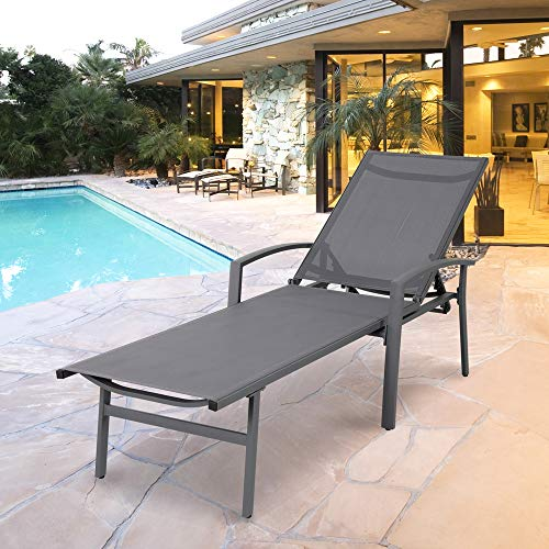 (Chaise Lounge Chair Aluminum with 5 Position Adjustable Back Outdoor Beach Pool Modern Patio Furniture (Grey))
