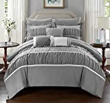 Oversized King Bed in a Bag Chic Home 10 Piece Blanche Pleated & Ruffled King Bed In a Bag Comforter Set Grey With sheet set