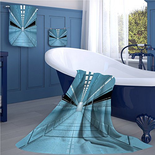 Outer Space Fashion towel combination Science Fiction Hole in the Spaceship Shuttle Interior Futuristic Arrival Image cotton hand towels set Pale Blue