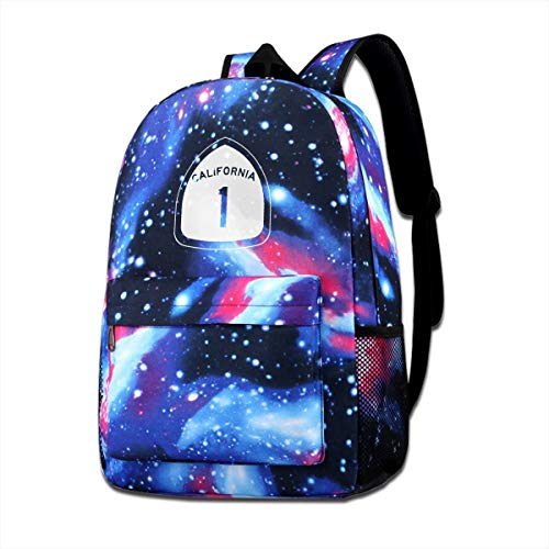California State Highway Route 1 Sign Starry Sky Backpack School Bag Business Backpacks