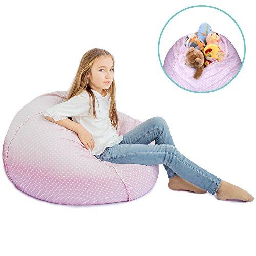 "- Stuffed Animal Storage Bean Bag XXL – 100% Cotton Fabric Plush Toy Organizing Bag, Machine Washable,(38"", Pink Dots)Comfortable & Soft Seat For Nursery | Stylish Chair/Ottoman/Pouf For Boys & Girls"