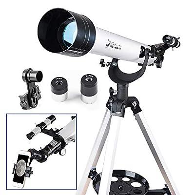 Telescope 60mm AZ Refractor Telescope with 10mm Smartphone Digiscoping Adapter - Observer 60mm AZ Refractor & Travel Scope Starter Kit