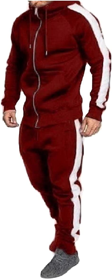 Tootless-Men Pockets Two Piece Oversized Lounge Zipper Hooded Sweatsuit