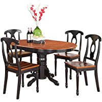 East West Furniture KENL5-BLK-W 5-Piece Dining Table Set