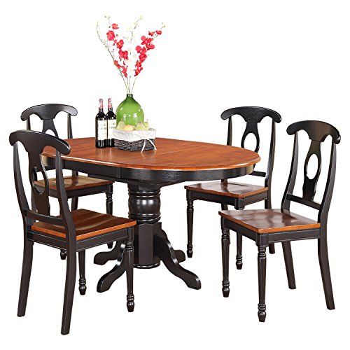 Cheap East West Furniture KENL5-BLK-W 5-Piece Dining Table Set