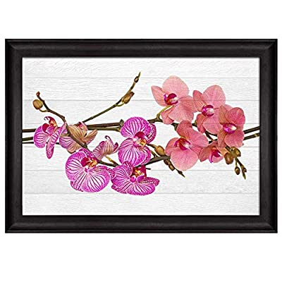 Branch with Pink Orchids Over White Wooden Panels Nature Framed Art, Made With Top Quality, Amazing Creative Design