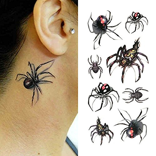 Oottati Small Cute Temporary Tattoo Spider 3D Halloween (Set of 2) -