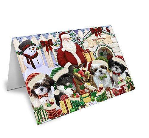 Happy Holidays Christmas Shih Tzus Dog House Gathering Greeting Card GCD58430 (10)