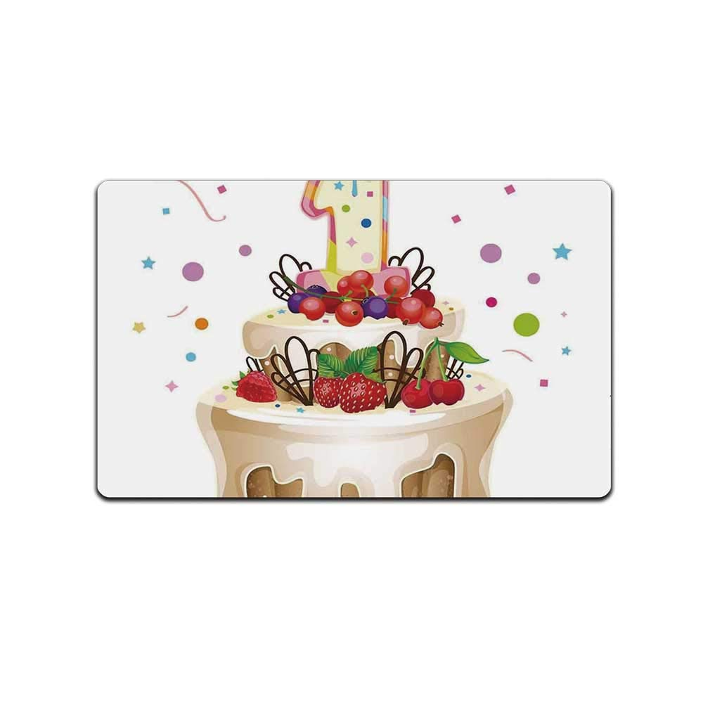 YOLIYANA 1st Birthday Decorations Doormat,Baby First Party Festive Cake with Forest Fruits and Candle Image for Kitchen,31'' Lx19 W