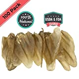 Ezlis Jumbo Cow Ears for Dogs 100 Pack | Full Thick Large Cow Ears Chews | Premium Bulk Beef Treats | Supports Dog Dental Health | 100% All-Natural Whole Beef Ears USDA & FDA Certified