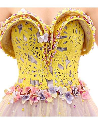 Tunnelzug Kleid Gelb Prinzessin Emily Schulter Ärmelloses von Beauty der weg Liebsten v5qaz