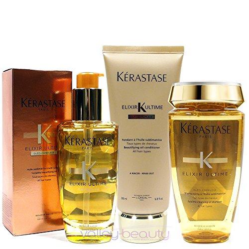- Kerastase Elixir Ultime Huile Lavante Bain 250Ml Elixir Ultime Fondant Conditioner 200Ml And Original Hair Oil 100Ml Bundle