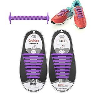 WALLER PAA 16PCS Unisex No Tie Lazy Shoelaces Elastic Silicone Shoe Laces for Sneakers (Purple)