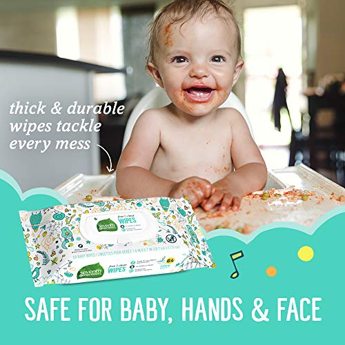 Seventh Generation Baby Wipes, Free & Clear Unscented and Sensitive, Gentle as Water, with Flip Top Dispenser, 768 count