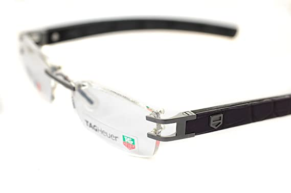 2808f0c0bb TAG HEUER L-TYPE LW TH0116 018 54mm Mens RIMLESS Optical Glasses   Frames  PURE   BLACK   ALLIGATOR DARK PURPLE LEATHER  Amazon.co.uk  Clothing