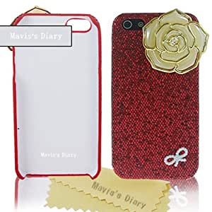 Mavis's Diary Luxury New 3D Handmade Bling Yellow Flower Pearl Bow Cover Red Hard for Iphone 4 4s with Soft Clean Cloth