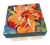 Kubla Craft Vibrant Hibiscus Capiz Shell Keepsake Box, 4 Inches Square