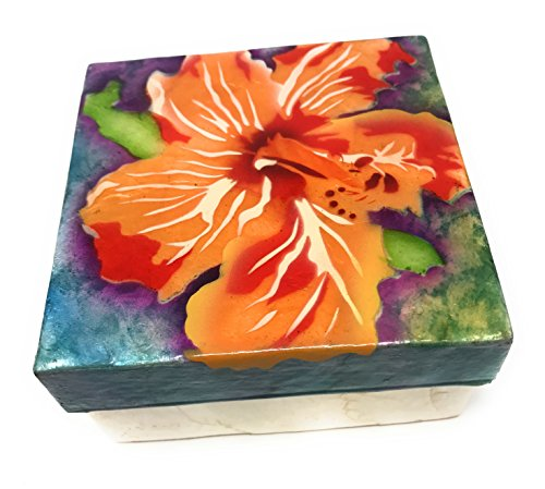 Kubla Craft Vibrant Hibiscus Capiz Shell Keepsake Box, 4 Inches Square