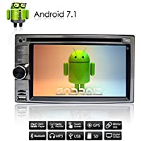 Upgraded Android 7.1 Universal double 2 din Car Stereo - 6.2 inch Bluetooth Car Radio Quad Core GPS Navigation Auto Audio Video DVD Player Support 4G WIFI,USB SD, MirrorLink,Backup camera
