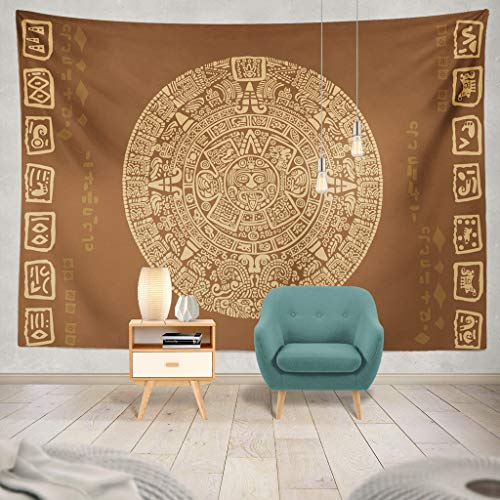 threetothree Tapestry Aztec Symbol Calendar Ancient Tattoo Mandala Tribal Dragon Mexico America Hanging Tapestries 60 x 80 inch Wall Hanging Decor for Bedroom Livingroom Dorm (Tattoo Machines Made In America)
