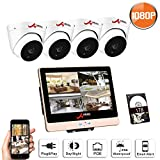 ANRAN POE Home Security Camera System, POE Surveillance Video Security System 4 HD 1080P Indoor Outdoor Cameras 8 Channel 12 Inch LCD Monitor NVR 1TB Hard Drive, Plug and Play, Motion Detection