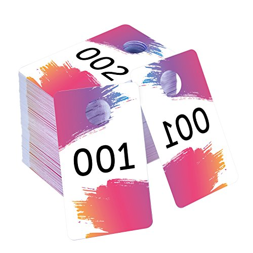 Mudder Live Sale Number Tags 100 Pieces Plastic Coat Check Numbers with Normal and Backward Numbers 100 Consecutive Numbers (001-100)