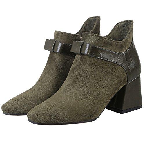 AIYOUMEI Damen Stiefeletten mit Schleife und 6cm Absatz High Blockabsatz High Heel Kurzschaft Stiefel Grün