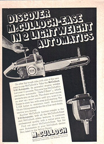 Vintage Print ad: 1967 McCulloch 5-10 and 2-10 Automatic Chain Saw,