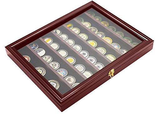 (DECOMIL Military Challenge Coin& Poker Chips Display Case with Lockable Door)