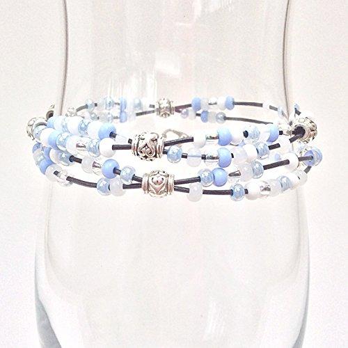 Leather Beaded Double Wrap Boho Bracelet, Blue Frozen Seed Bead Braclet Bohemian ()