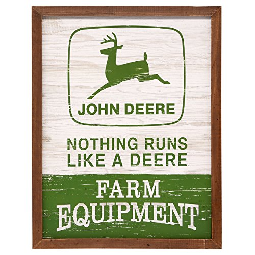 Open Road Brands John Deere Rustic MDF Rustic Wood Wall Art Sign - an Officially Licensed Product Great Addition to Add What You Love to Your Home/Garage Decor