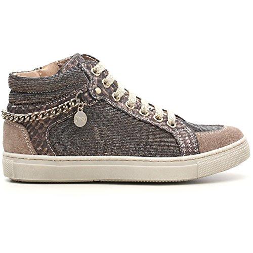 Negro Jardines Junior Niña a528211F, Zapatillas deportivas de ante y tejido glitter, Velour Dracena Velour Dracena