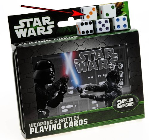 Star Wars Weapons & Battles Illustrated Double Deck Playing Cards in Tin with 5 Bonus Dice (Star Wars Dc 15 Blaster Rifle Toy)