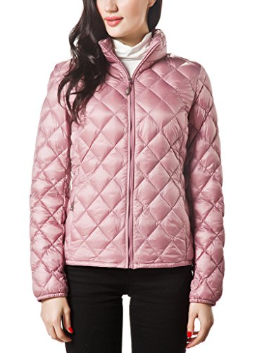 (XPOSURZONE Women Packable Down Quilted Jacket Lightweight Puffer Coat Rosewood XS)