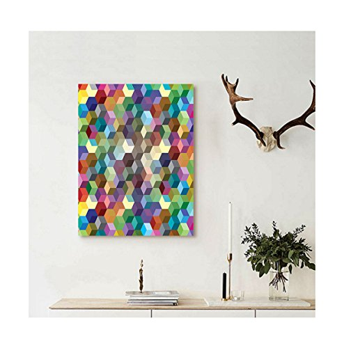 Blue Mountain Geometric Wallpaper (Liguo88 Custom canvas Abstract Home Decor Collection Color Cubes Mosaic Party Festive Theme Modern Fun Geometric Artwork Wall Hanging Olive Blue Purple Teal)