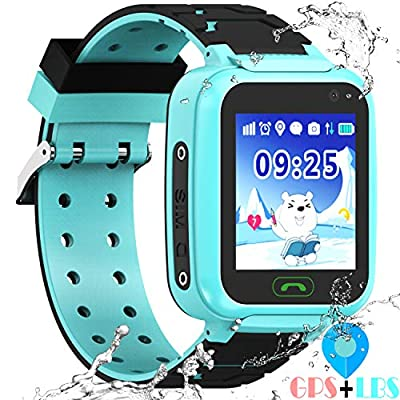 Kids Waterproof Smartwatch with GPS Tracker - Boys & Girls IP67 Waterproof Smart Watch Phone with Camera Games Sports Watches Back to School Supplies Grade Student Gifts