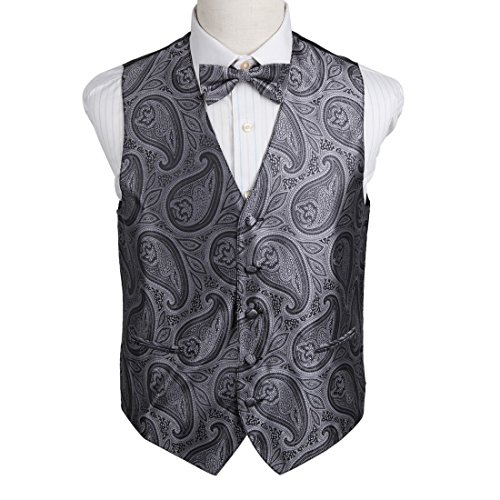 EGE2B04A-XL Grey Good Friday Presents For Mens Patterns Microfiber Waistcoat Pre-tied Bow Tie Set Designer Waistcoat By Epoint