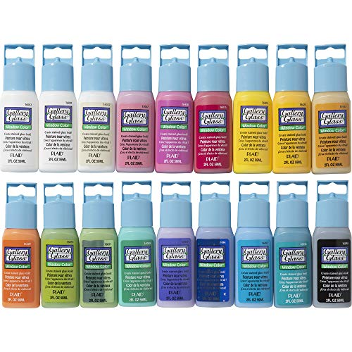 Gallery Glass PROMOGGII Window Color Paint Set (2-ounce), #2 Best Selling Colors (18 colors) -