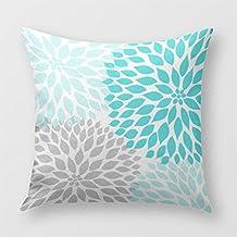 Turquoise Blue Gray Dahlia Mod Decor Sofa Pillow Cover for Sofa or Bedroom