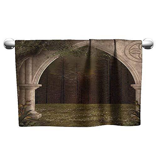 (Custom Towel Gothic Decor Old Retro Arch in Garden Renaissance Meadow Forest Dark Scary Design Image Custom Bath Sheet 35 x 12 inch Green Beige)