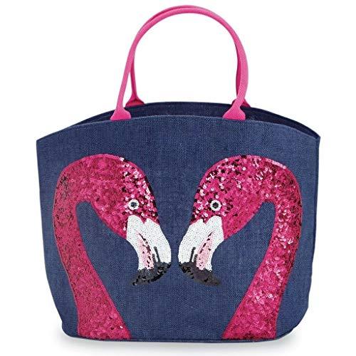 Mud Pie Women's Fashion Summer Sea Resort Dazzle Jute Tote 86100006 (Flamingo)]()