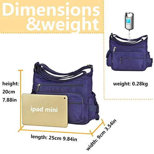 6068 Multi azure Volcanic Nylon Lightweight Bags Shoulder Waterproof Pockets Crossbody Women for Handbag Pocketbooks Rock TnqXOO